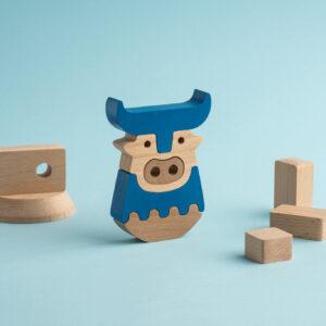 Holzsteck-Puzzle der Minotaurus von ANIMI