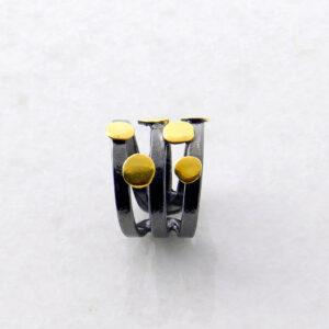 Schwarzer Rhodinierter Silber-Ring 2-Color geometrische Formen