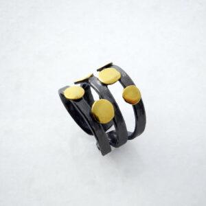 Schwarzer Rhodinierter Silber-Ring mit 2-Color geometrische Formen