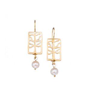 Hänge-Ohrringe mit Perlen der Baum, Schmuck aus Griechenland