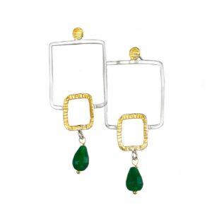 Geometrische Ohrringe mit Jade , Schmuck - Design aus Griechenland