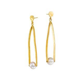 Hänge-Ohrringe mit Perlen, Schmuck von griechischen Designern