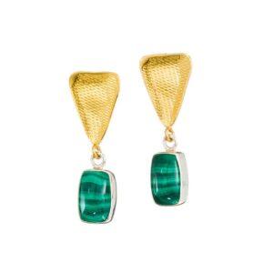 3-Color-Ohrringe mit Malachit handgemacht