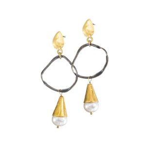 Bi-Color-Hängeohrringe mit Perlen aus Griechenland