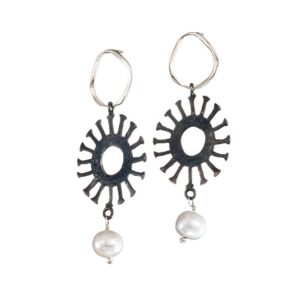 Ohrringe Black & White Sonne+Perle, Schmuck aus Griechenland