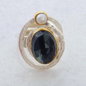 Silber-Ring mit Edelstein  Hämatit