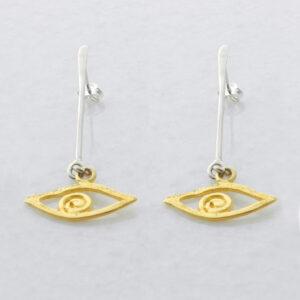 Vergoldete Ohrringe das Auge, Schmuck aus Griechenland