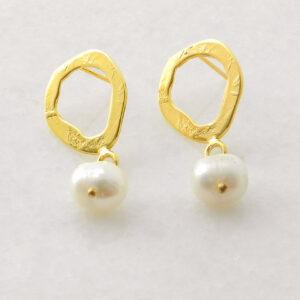 Vergoldete Silber-Ohrringe mit Perle, Silber-Schmuck aus Griechenland