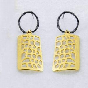 Silber-Ohrringe mit vergoldete Details, Schmuck aus Griechenland