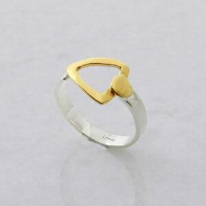 Silber-Ring mit vergoldeten Details Geometrisches Design